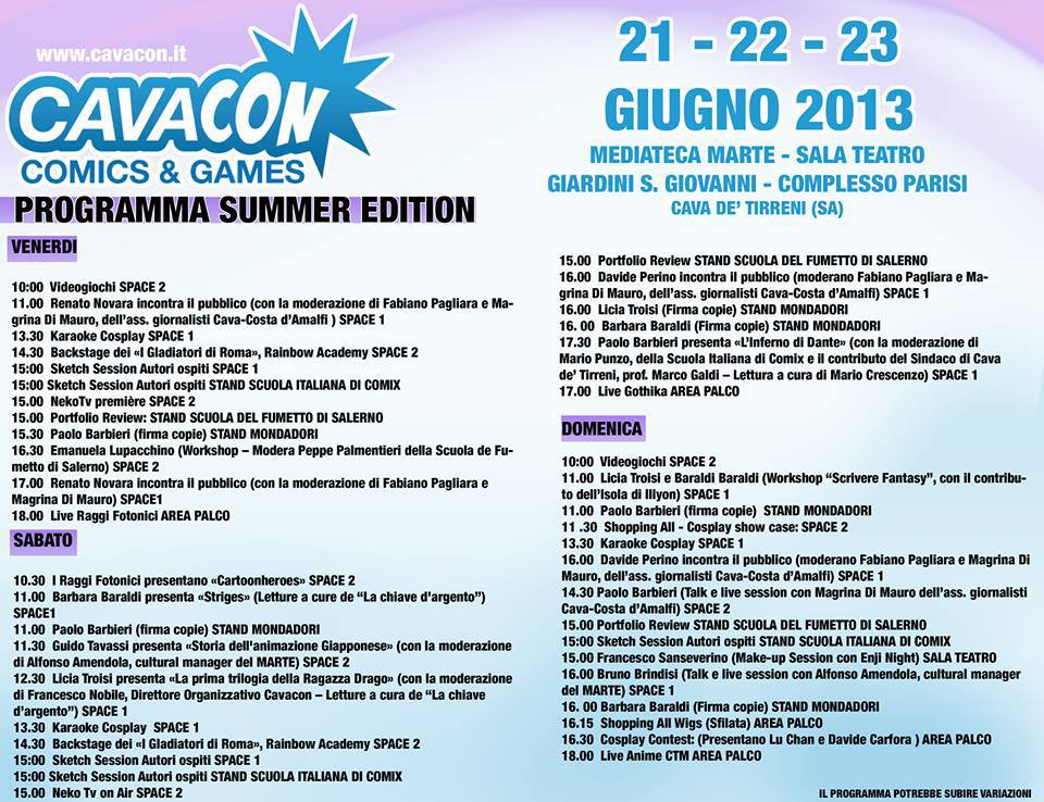 cavacon comics and games 2013 programma